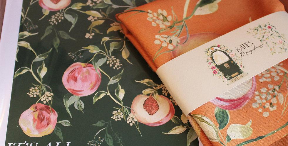 'It's All Peachy'  Tea Towel + Green Print Gift Set