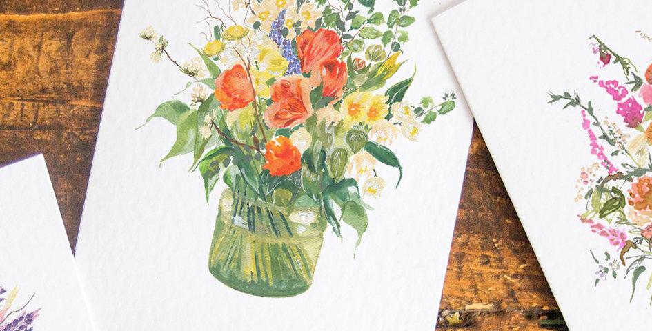 Northumbrian Flowers Tulip Bouquet postcard