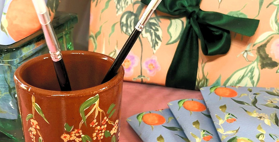 Hand painted paint brush pot - Trailing Floral Branches