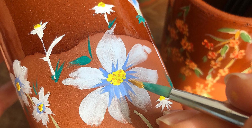 Hand painted paint brush pot - Blue Daisies