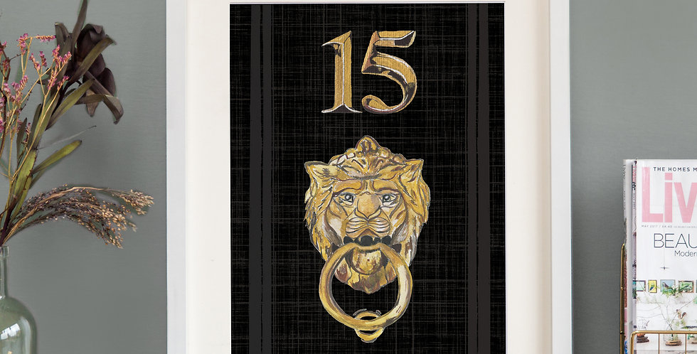 Front Door Print - Black - Mock Gold Accessories