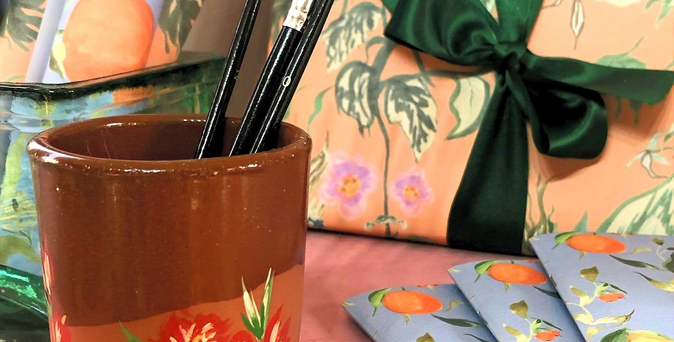 Hand painted paint brush pot - Red & Coral Floral