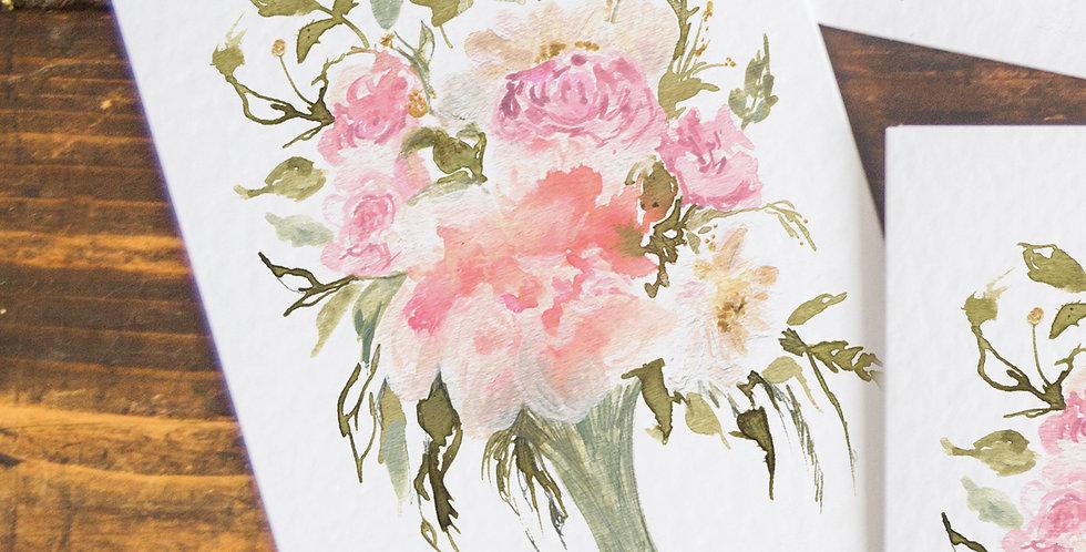 Lizzy- Peony bouquet postcard