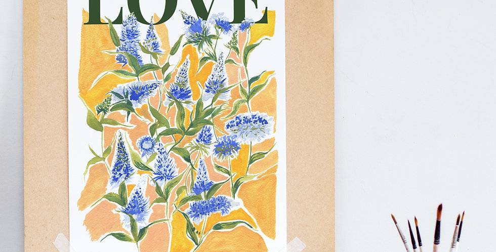 Love and floral poster style print.