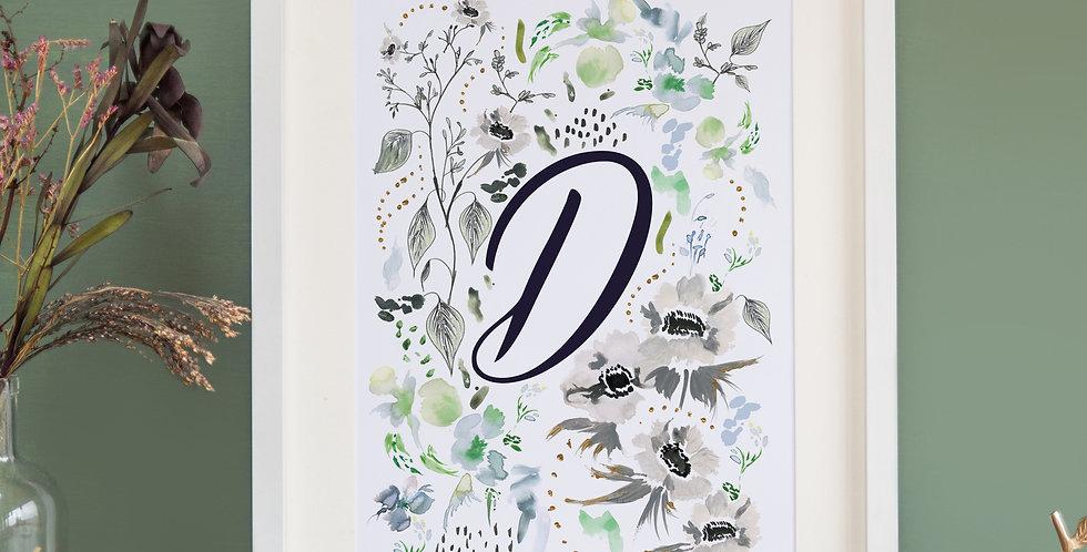 Green & Grey Floral - Initial Print