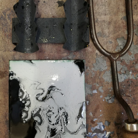 Amy Hutchings - Marbled enamel base