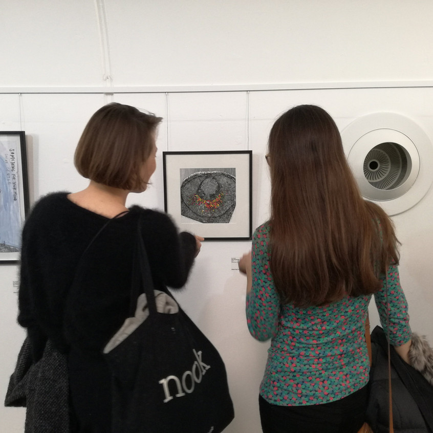 Amy Hutchings - Eye Bulb at the Private View, Shape Arts Open