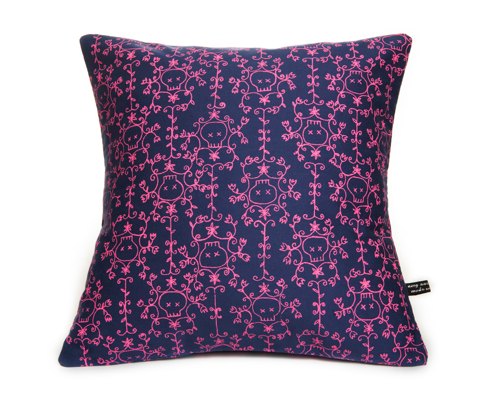 so blue skull cushion