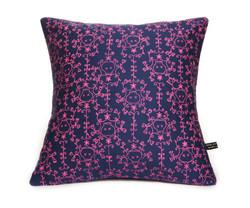 so blue skull cushion