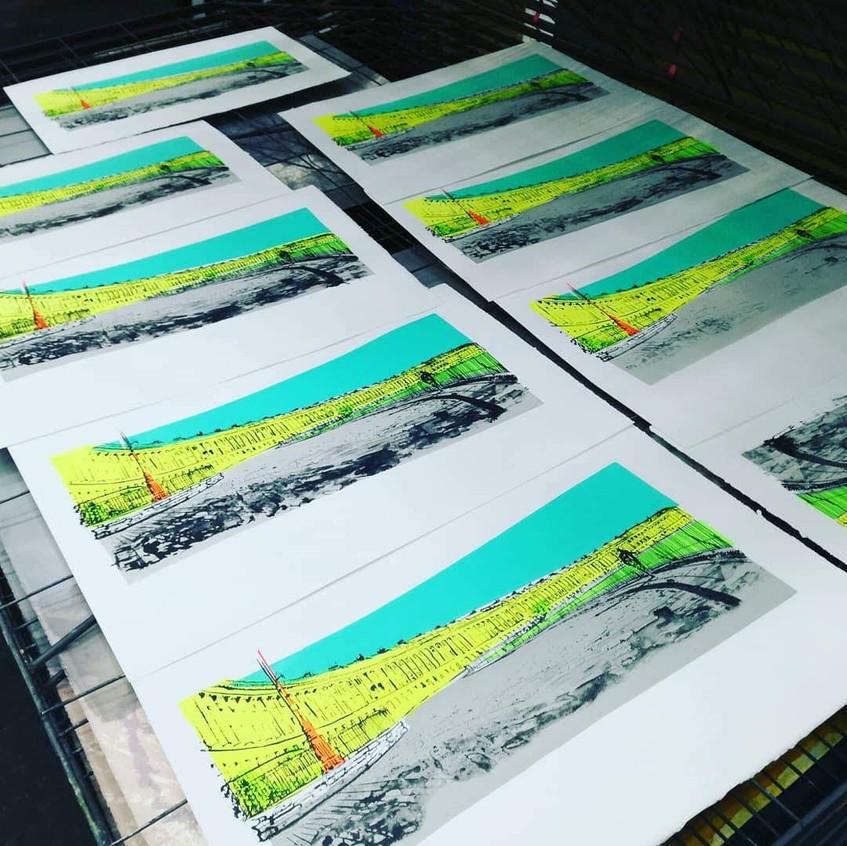 Amy Hutchings - Final prints drying