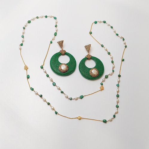 Handmade Necklace and Leather Earrings Set
