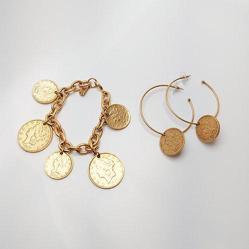 Coin Bracelet & Earring Set