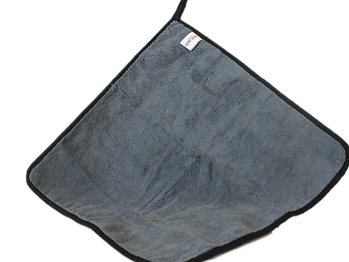 Grey heavy duty microfiber towel with hanging loop