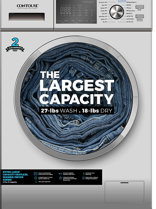 LARGEST Capacity Compact, All-in-One, Ventless Washer/Dryer Combo, Titanium