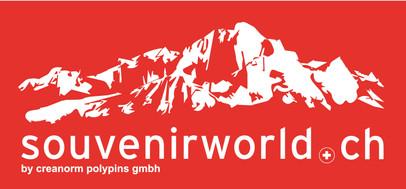Souvenirworldlogo2 auf rotem Hintergrund