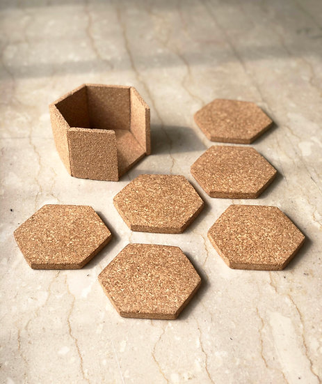 Hex Coasters with Stand - Set of 6