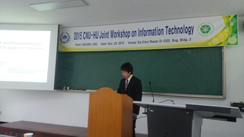 【学会発表/Conference】 忠南大学-北大ジョイントワークショップ(テジュン、韓国)で冨岡助教と亀田滉貴(M1)君が、それぞれ口頭発表を行ないました。