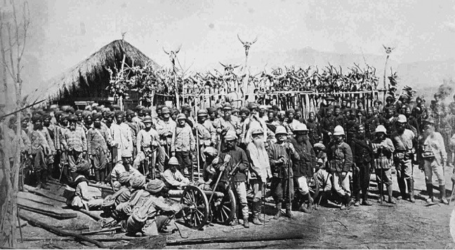 British troops at the memorial site of Vanhnuailiana, 1872. Photograph taken by R.G. Woodthorpe. Collection: Pitt-Rivers Museum, Oxford.