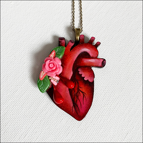 Anatomical Heart And Pink Rose Pendant Necklace