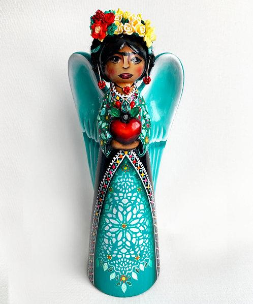 Frida Kahlo Love Angel with Flowered Sacred Heart II