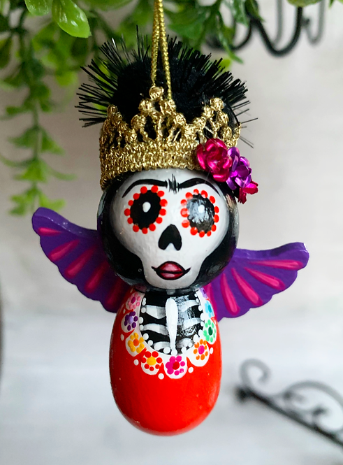 Orange Frida with Purple Wings Skeleton Angel Art Ornament