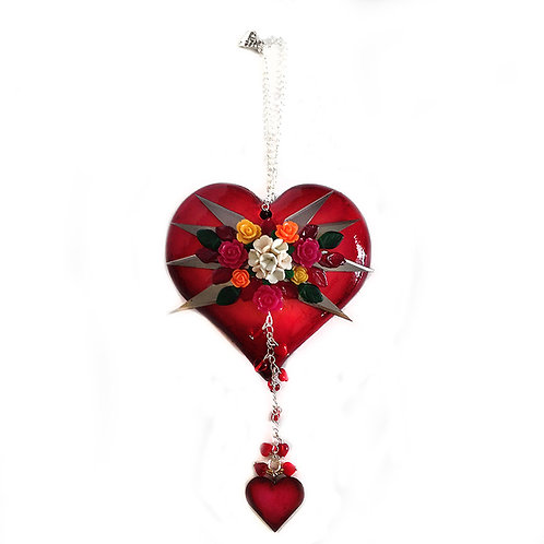 Puffy Red Heart With Eight Stabby Blades Ornament