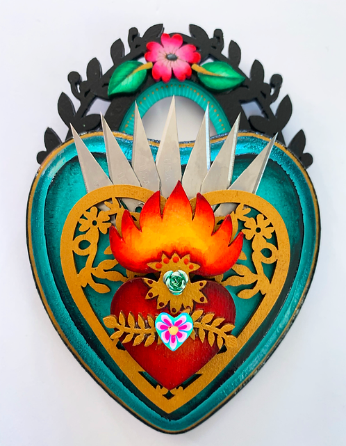 Small Teal Sacred Heart with Xacto Blades
