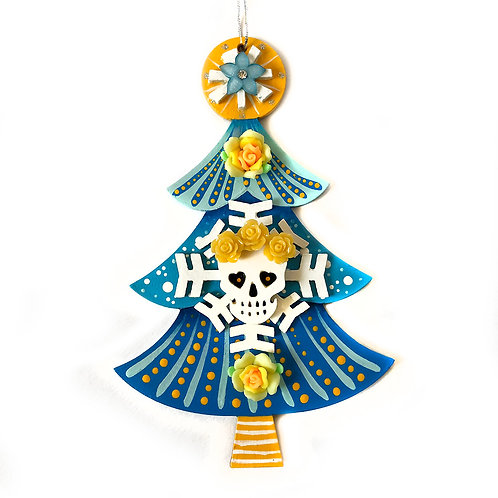 Blue And Yellow Sugar Skull Christmas Tree Ornament