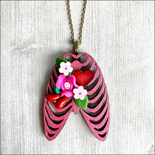 Pink Rib Cage And Heart Pendant Necklace