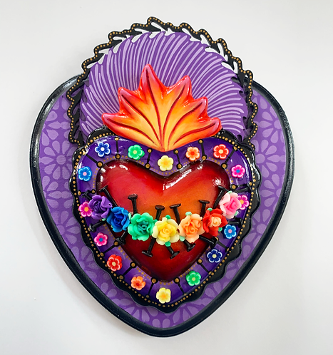Purple Sacred Heart with Black Nails