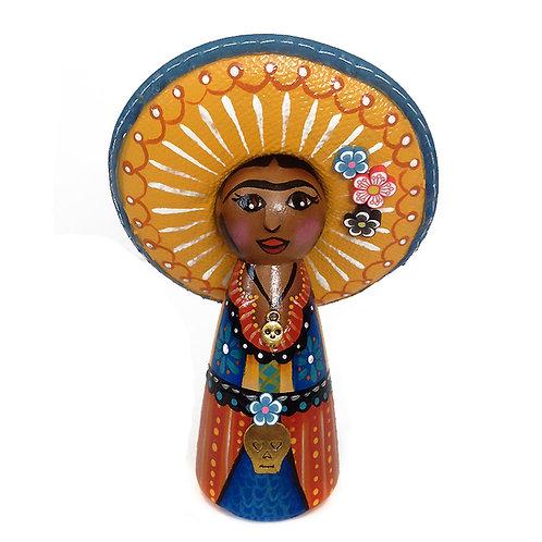 Frida In Yellow & Orange Sombrero Ornament