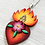Thumbnail: Sacred Heart with Pink Flower Pendant Necklace