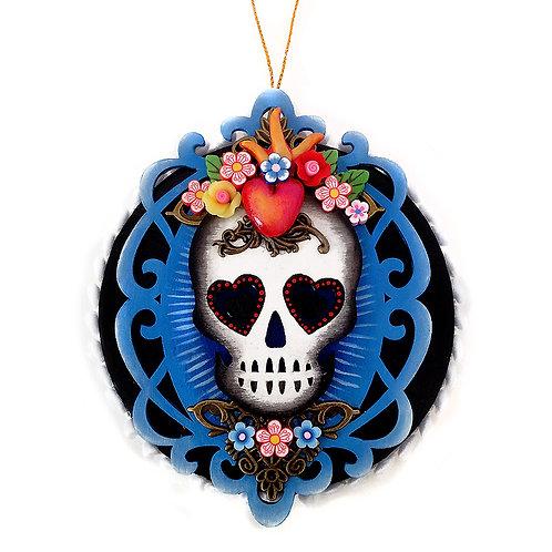 Blue & Sacred Heart Skull Ornament