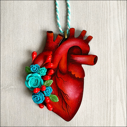 Anatomical Heart And Blue Flowers II Ornament
