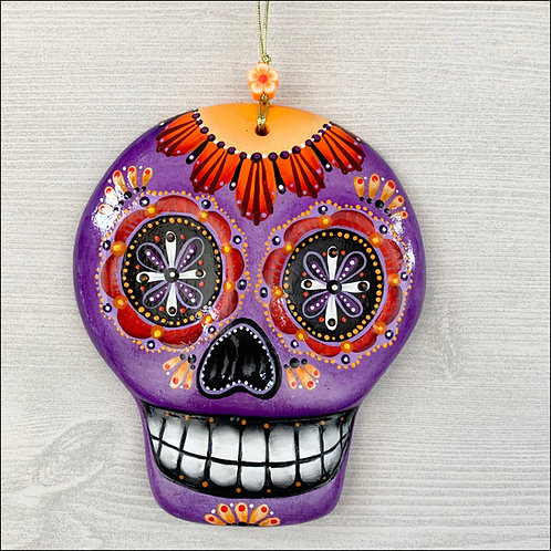 Purple Sugar Skull with Orange Flower Art Ornament