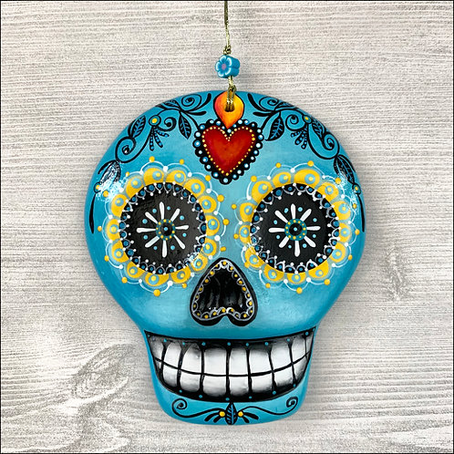 Blue Sugar Skull with Sacred Heart Art Ornament