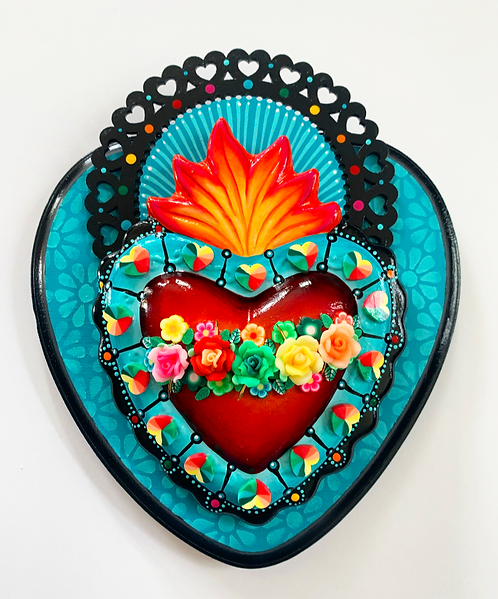 Teal Sacred Heart with Hearts and Flowers