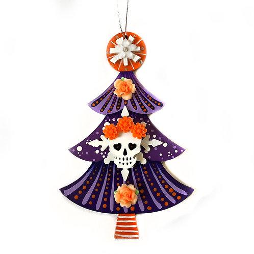 Purple And Orange Sugar Skull Christmas Tree Ornament