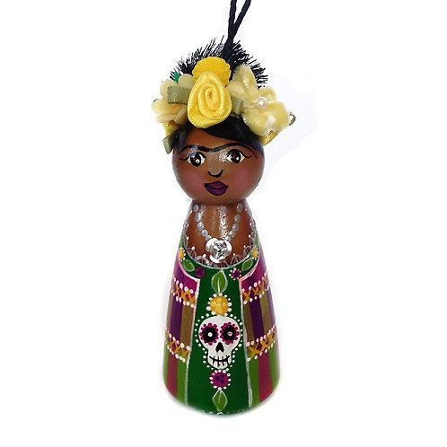 Frida In Purple & Green Skull Skirt Ornament