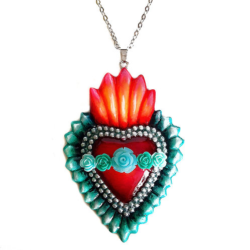 Teal Sacred Heart Pendant Necklace