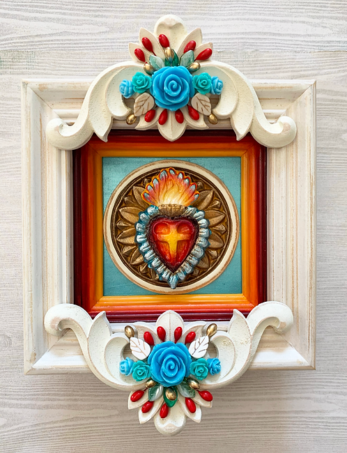 Sacred Heart with Blue Roses Shadow Box