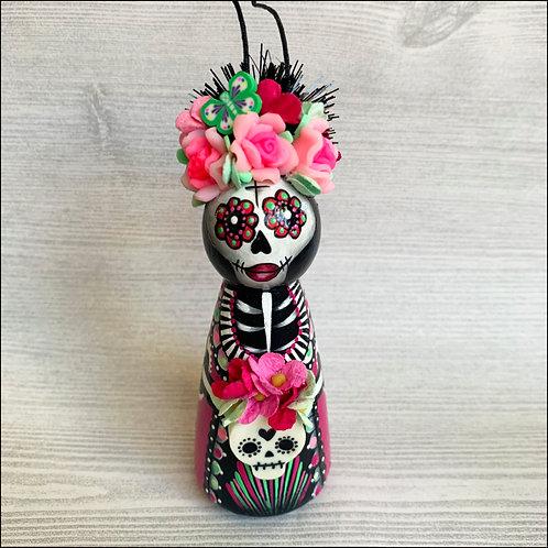 Dia de los Muertos Pink Skull Art Ornament