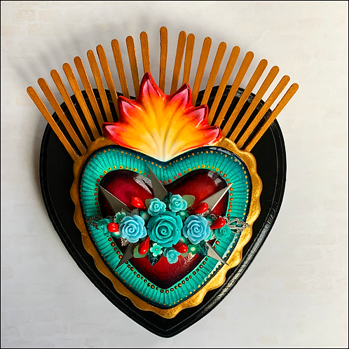 Teal Sacred Heart and Xacto Blades Wall Art