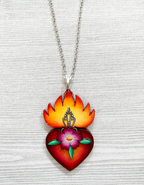 Sacred Heart with Pink Flower Pendant Necklace