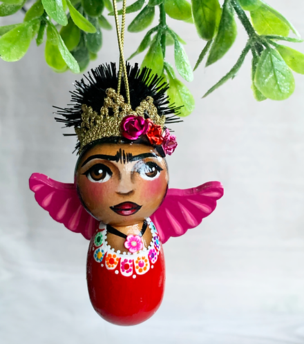 Sweet Red and Pink Winged Frida Angel Art Ornament