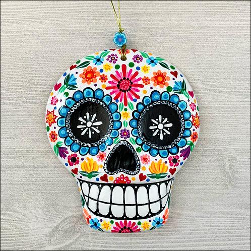 White Flower Power Sugar Skull Art Ornament No.1