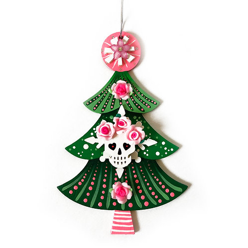 Green And Pink Sugar Skull Christmas Tree Ornament