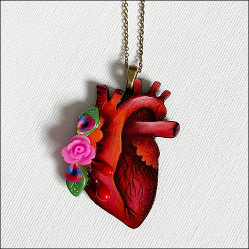 Anatomical Heart And Purple Rose Pendant Necklace