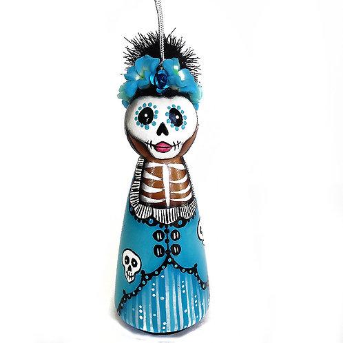 Day of the Dead Blue Skull Dress Ornament
