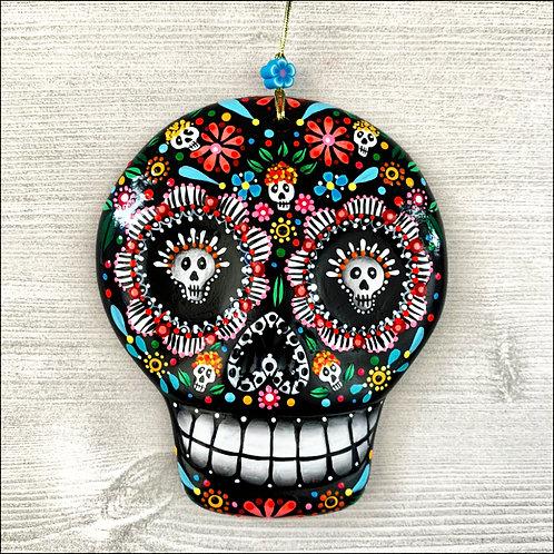 Black Flower Power Sugar Skull Art Ornament
